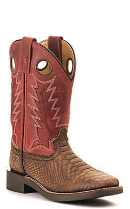 Smoky Mountain Youth Viper Distressed Brown Snake Print and Burnt Apple Red Wide Square Toe Western Boot