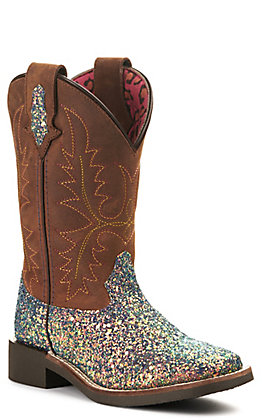 Smoky Mountain Girls Crazy Horse Brown and Mermaid Glitter Wide Square Toe Western Boot