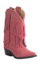Smoky Mountain Kid's Pink Suede with Fringe Snip Toe Western Boots