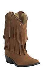 Smoky Mountain Kid's Tan Suede with Fringe Snip Toe Western Boots