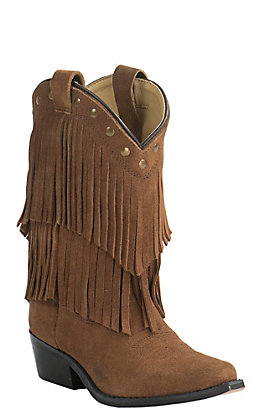 Smoky Mountain Kid's Tan Suede with Fringe Western Traditional Toe Western Boots