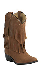 Smoky Mountain Youth Tan Suede with Fringe Snip Toe Western Boots