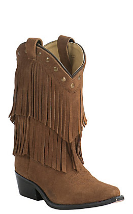 Smoky Mountain Youth Tan Suede with Fringe Western Traditional Toe Western Boots