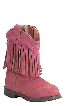 Smoky Mountain Toddler Pink Suede with Fringe Round Toe Western Boots