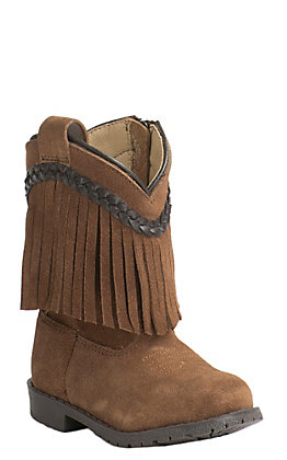 Smoky Mountain Toddler Brown Suede with Fringe Round Toe Western Boots