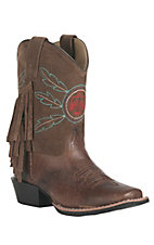 Smoky Mountain Kid's Chocolate Brown & Suede Upper with Fringe & Thunderbird Square Toe Western Boots