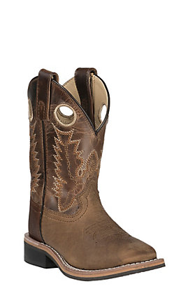 Smoky Mountain Kids Distressed Brown and Waxy Brown Wide Square Toe Western Boots