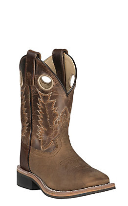 Smoky Mountain Youth Distressed Brown and Waxy Brown Wide Square Toe Western Boots