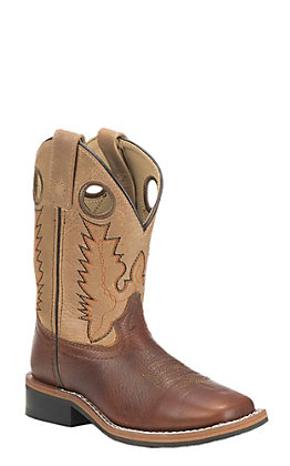 Smoky Mountain Kids Brown and Tan Square Toe Western Boots