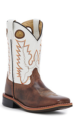 Smoky Mountain Kid's Brown with White Upper Western Square Toe Boots
