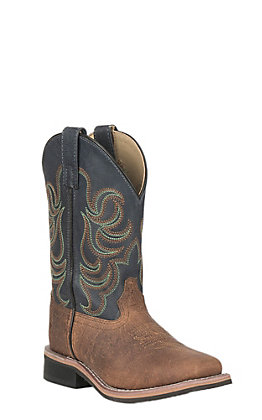 Smoky Mountain Kids Oily Tan with Deep Navy Upper Wide Square Toe Western Boots