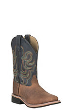 Smoky Mountain Youth Oily Tan with Deep Navy Upper Wide Square Toe Western Boots