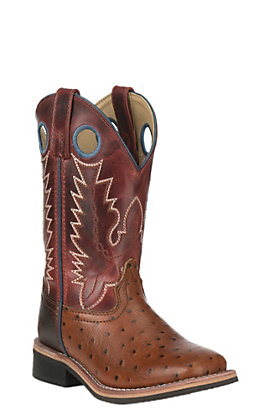Smoky Mountain Kids Cognac Faux Ostrich with Antique Red Upper Wide Square Toe Western Boots