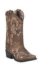 Smoky Mountain Kids Antique Mocha with Cream Embroidery Snip Toe Western Boots