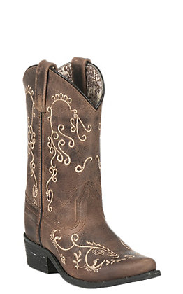 Smoky Mountain Youth Antique Mocha with Cream Embroidery Snip Toe Western Boots