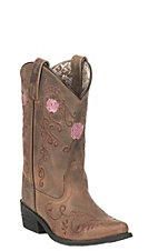 Smoky Mountain Kids Antique Tan with Pink Rose Embroidery Snip Toe Western Boots