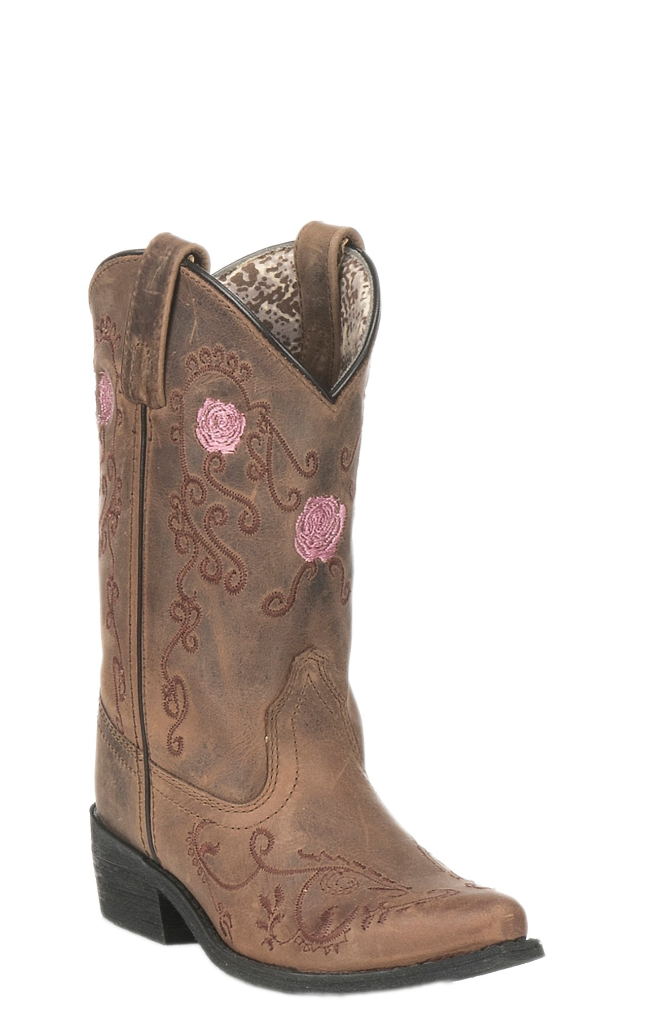 Smoky Mountain Kids Antique Tan with Pink Rose Embroidery Snip Toe Western  Boots 19ed6af01ef