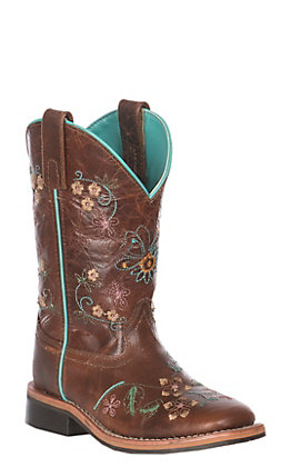 Smoky Mountain Youth Antique Tan with Floral Embroidery Leather Square Toe Western Boot