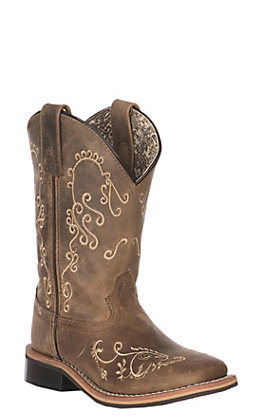 Smoky Mountain Kids Floralie Waxy Brown Leather Square Toe Boot