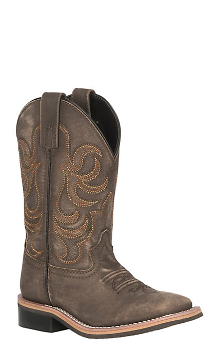 1aead22838c Smoky Mountain Kids Vintage Chocolate Wide Square Toe Western Boots