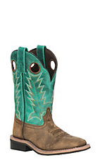 Smoky Mountain Kids Brown Distress and Turquoise Wide Square Toe Western Boots