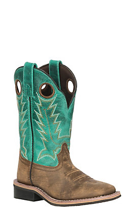 Smoky Mountain Kids Distressed Brown and Emerald Green Wide Square Toe Western Boots