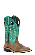 Smoky Mountain Youth Brown Distress and Turquoise Wide Square Toe Western Boots