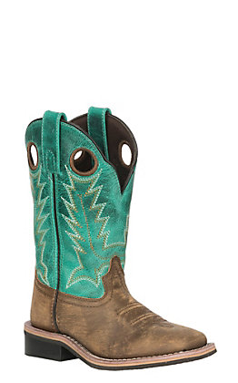 Smoky Mountain Youth Distressed Brown and Emerald Green Wide Square Toe Western Boots