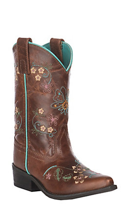 Smoky Mountain Kids Antique Tan with Floral Embroidery Leather Snip Toe Boot