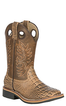 Smoky Mountain Youth Gator Print and Distressed Brown Wide Square Toe Western Boots