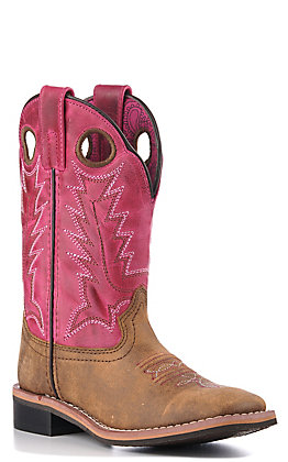 Smoky Mountain Kids Distressed Pink Square Toe Boots