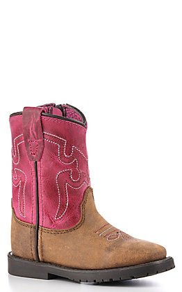 Smoky Mountain Toddler Vintage Brown and Pink Square Toe Western Boots