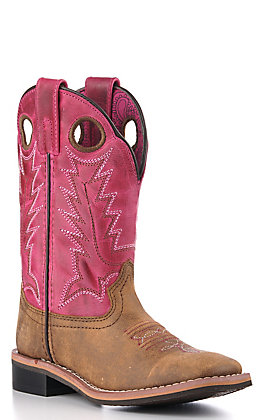 Smoky Mountain Youth Vintage Brown and Pink Square Toe Boots