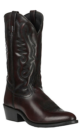 Smoky Mountain Men's Classic Black Cherry Leather R-Toe Western Boot