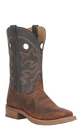 Smoky Mountain Men's Oily Tan and Navy Leather Western Square Toe Boots