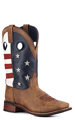 Smoky Mountain Men's Vintage Brown USA Flag Square Toe Western Boots