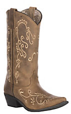 Smoky Mountain Women's Distressed Mocha with Cream  Embroidered Snip Toe Western Boot