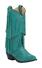 Smoky Mountain Women's Turquoise Suede with Fringe Snip Toe Western Boots