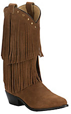 Smoky Mountain Women's Brown Suede with Fringe Snip Toe Western Boots