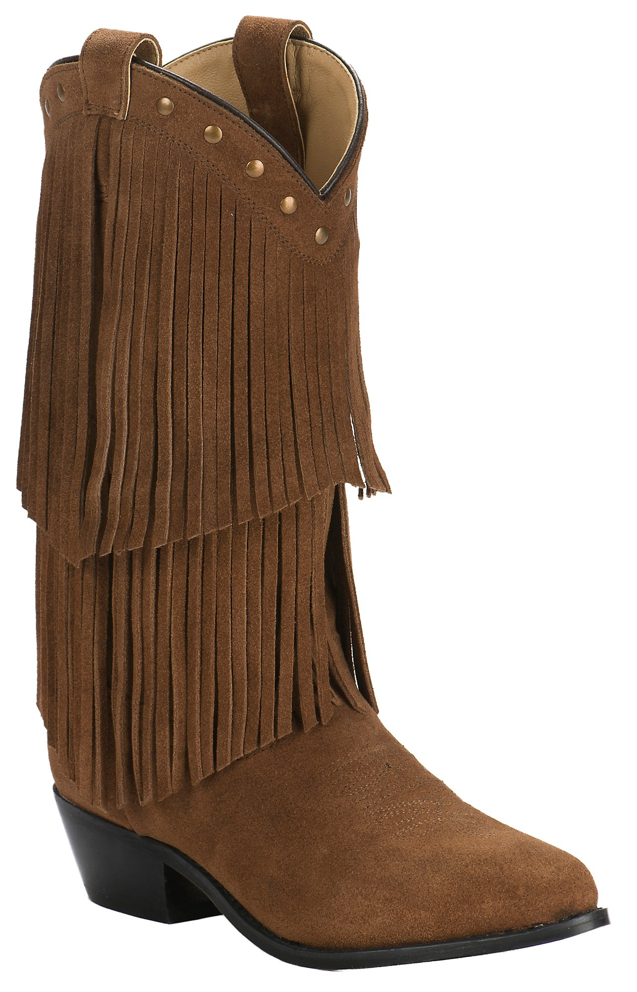 Smoky Mountain Women s Rust Suede with Fringe Western Traditional Toe Western  Boots 49d17b31a51