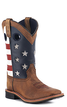Smoky Mountain Women's Distressed Brown USA Flag Square Toe Boots