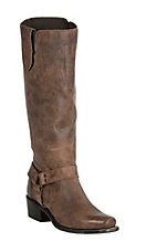 Double H Women's Sonora Distressed Tan with Harness Strap Square Toe Boots