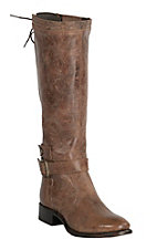 Double H Women's Sonora Distressed Brown Campbell Buckle Strap Lace Up Round Toe Boots