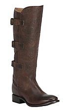 Double H Women's Brown Floral Embossed with 3 Buckles Fashion Boots