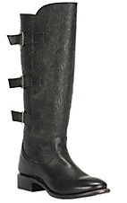 Double H Women's Black Floral Embossed with 3 Buckles Fashion Boots