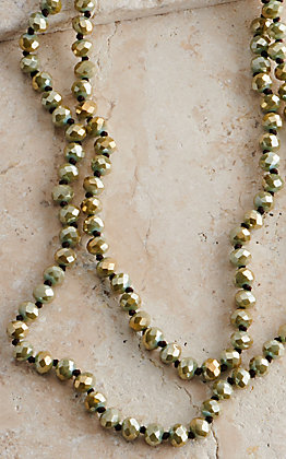 Wired Heart 60 Inch Metallic Olive Green Beaded Layering Necklace