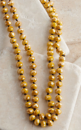 Wired Heart 60 Inch Metallic Mustard Yellow Beaded Layering Necklace