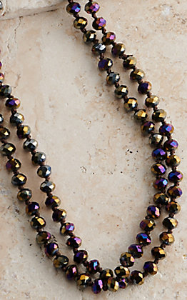 60IN 8MM LONG BEAD DARK AB SPARKLE LAYERING NECKLACE