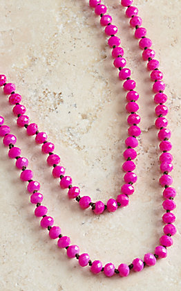 Wired Heart 60 Inch Hot Pink Beaded Layering Necklace
