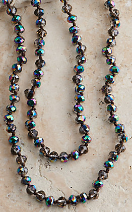 Wired Heart 60 Inch Metallic Dark Multi-Color Beaded Layering Necklace